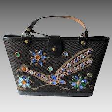 Enid Collins Bucket Bag Purse Vintage 1960s Roadrunner Hand Jeweled Handbag