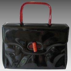 Black Box Purse Vintage 1950s Patent Leather Bakelite Garay