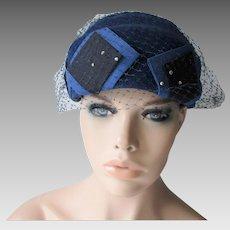 Blue Velour Pillbox Hat Veil Vintage 1950s Mr. Richard