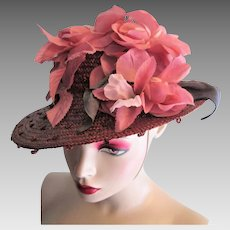 Vintage 1930s Hat Polka Dot Straw Pink Millinery Flowers
