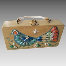 Enid Collins Box Purse Vintage 1960s Jeweled Bird In Hand Handbag