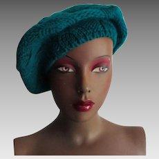 Teal Green Knit Beret Tam Vintage 1970s Womens Hat