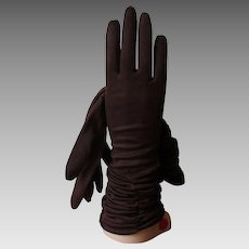 Chocolate Brown Womens Gloves Vintage 1960s Hansen Nylasuede