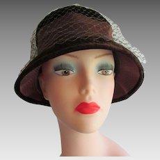 Bucket Hat Vintage 1960s Brown Velvet Lampshade Veil Womens