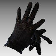 Black Lace Wristlet Gloves Vintage 1950s Pinup Evening