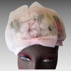 Pink Floral Church Hat Vintage 1950s Womens Millinery Flowers Bow