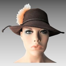 Brown Fedora Hat Vintage 1970s Peach Feather Brazil Wool Donnybrook