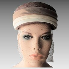 Straw Pillbox Hat Veil Vintage 1950s Brown Taupe Tan Beige