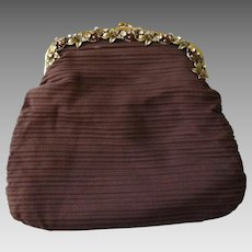 Brown Clutch Purse Vintage 1940s Jeweled Fall Leaves
