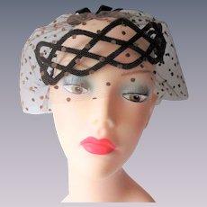 Brown Cocktail Hat Vintage 1950s Velvet Polka Dot Veil
