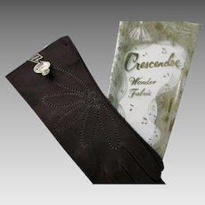 Deadstock Brown Gloves Vintage 1940s Embroidered Flowers Crescendoe