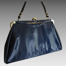 Blue Patent Leather Purse Vintage 1950s Handbag Kelly Bag