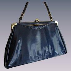 Blue Patent Leather Purse Vintage 1950s Handbag Kelly Bag