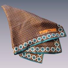 Anne Klein Silk Scarf Vintage 1960s Fall Colors Geometric