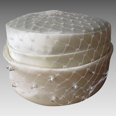 Wedding Pillbox Hat Vintage 1960s Veil Faux Pearl Beaded Ivory Satin