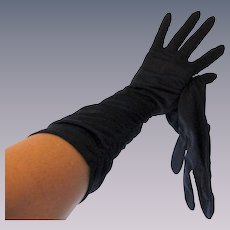 Navy Blue Nylon Gloves Vintage 1960s Sheer Ruched Long