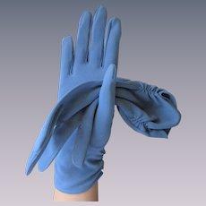 Blue Nylon Rayon Gloves Vintage 1960s West Germany