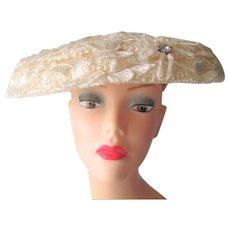 White Wedding Hat Vintage 1960s Straw Rhinestone Cartwheel Wide Brimmed