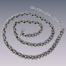Rhinestone Chain Link Belt Vintage 1970s Disco Navy Ribbon Silverplate
