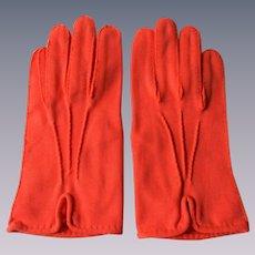 Orange Wristlet Gloves Vintage 1950s Pinup Cotton