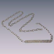 Rhinestone Belt Vintage 1970s Disco Silverplated Chain Link