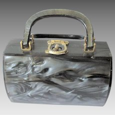 Lucite Box Purse Vintage 1950s Pearlized Grey Handbag