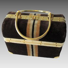 Brown Striped Velvet Box Purse Vintage 1970s Gold Plated Handbag