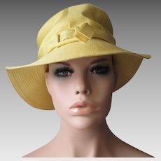 Yellow Silk Faile Sun Hat Vintage 1970s Betmar Buckle Wide Brim