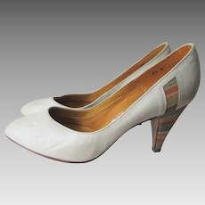 Women Leather Shoes Pumps Vintage 1970s Town Country Rainbow Stacked Heels