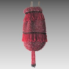 Red Beaded Flapper Pouch Purse Vintage 1920s Fringe Tassel