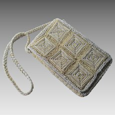 Magid Silver Gold Box Purse Vintage 1970s Woven Metallic Handbag