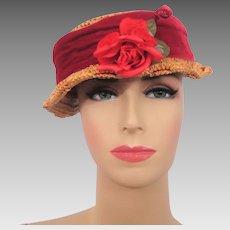 Vintage 1940s Straw Hat Red Velvet Band Millinery Flower