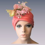 Christian Dior Turban Hat Vintage 1960s Millinery Flowers Designer Chapeaux Carmen Miranda