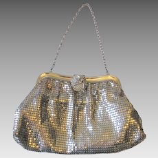 Whiting and Davis Evening Bag Purse Vintage 1940s Art Deco Silver Mesh