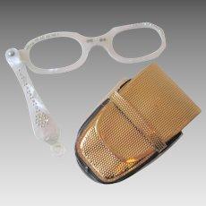 Rhinestone Lucite Lorgnette Reading Glasses Vintage 1950s White Gold Case