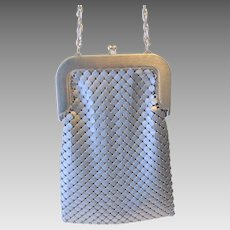 Large Whiting and Davis Purse Vintage 1980s Silver Mesh Long Chain Handle