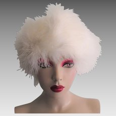 White Maribou Feather Hat Vintage 1960s Beret Tam