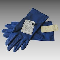 Fownes Royal Blue Leather Driving Gloves Vintage 1970s Unworn New With Tags
