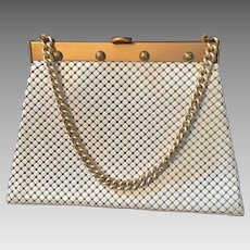 Mod Whiting and Davis Purse Vintage 1960s Gold White Mesh