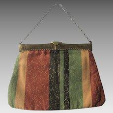 Antique Edwardian Purse 1900s Striped Cotton Embossed Dutch Brass Frame Provenance