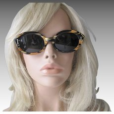 Mod Lucite Sunglasses Vintage 1960s Round Marbled Black Yellow Sunmodes