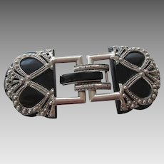 Art Deco Bakelite Belt Buckle Vintage 1940s Ornate Two Piece Silver Plated Accessory