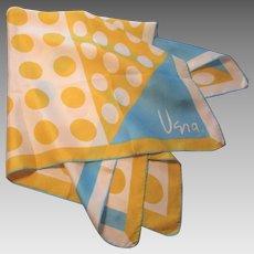 Large Vera Neumann Silk Scarf Vintage 1970s Turquoise Yellow Polka Dot