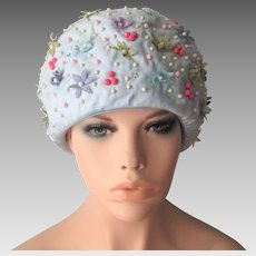 New With Tags Blue Floral Hat Vintage 1960s Beaded Pastel Mr. John