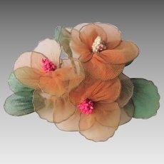 Floral Corsage Vintage 1950s Orange Nylon Horsehair Millinery Hat Flower Bouquet