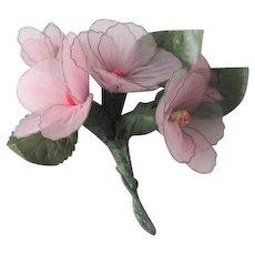 Pink Corsage Vintage 1950s Nylon Horsehair Floral Flower Bouquet
