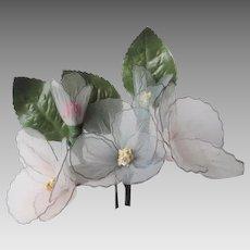 White Wedding Corsage Vintage 1950s Nylon Horsehair Flower Floral Bouquet
