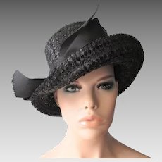 Black Straw Church Hat Vintage 1960s Grosgrain Bow