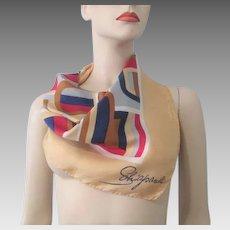 Designer Schiaparelli Silk Scarf Vintage 1950s Mid Century Modern Bold Designs Case