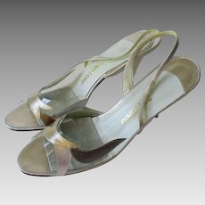 Lucite Slingback Heels Shoes Vintage 1970s Gold Silver Metallic